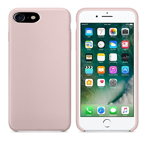 Ouneed® Hülle für iphone 7 4.7 Zoll , High Quality Leather Slim Case Cover Shel für iPhone 7 4.7 Zoll (4.7 Zoll, Beige) Rosa