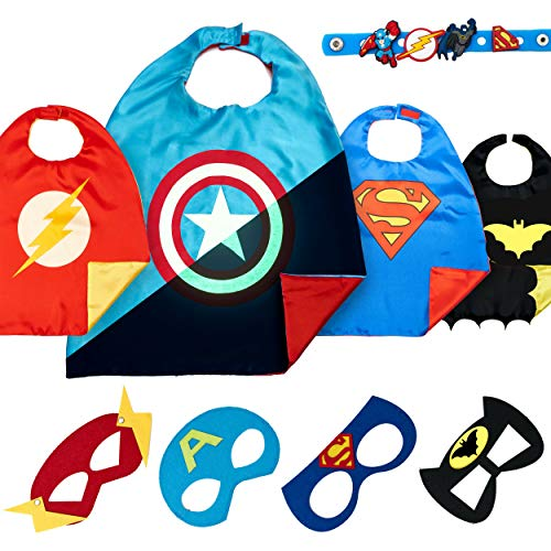 LAEGENDARY Disfraz De Superhéroes para Niño - Regalos De Cumpleaños para Niña - 4 Capas Y Máscaras - Juguetes para Niños Y Niñas - Logo Brillante De Spiderman (Captain America)
