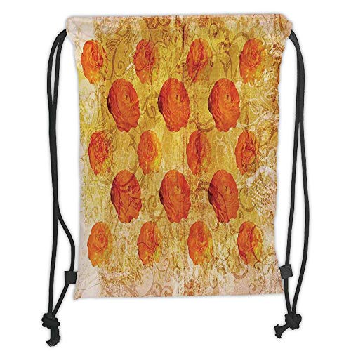 Icndpshorts Burnt Orange,Vintage Rose Flower Pattern Grubby Paint Texture Grunge Rusty Effects Image,Orange Tan Soft Satin,5 Liter Capacity,Adjustable String Closure, Ut Burnt Orange