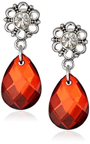 1928 Jewelry Silver-Tone Crystal and Red Briolette Teardrop Earrings