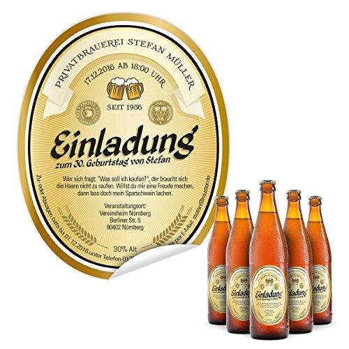 Flaschenetikett als Einladung (40 Stück) - Bier in Gelb - Bieretikett für Bierflaschen
