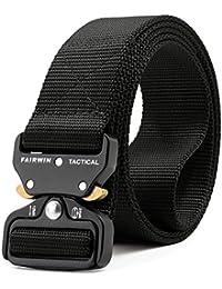 ZORO Men's Tactical Belt Nylon Military Style Webbing Belt with Metal Buckle 6 Colors, black brown, blue, green, beige, golden 51