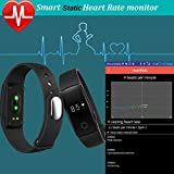 YAMAY® Fitness Tracker with Heart Rate Monitor,Bluetooth Smart Wristband Bracelet Sport Pedometer Activity Tracker with Heart Rate Monitor/Step Tracker/Calorie Counter/Sleep Tracker Compatible with iPhone iOS and Android Phone