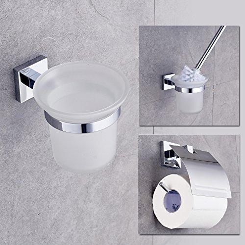 Auralum® Chrom WC bürste WC-Garnitur Papierhalter Klobürste Bürstengarnitur Bürstenhalter glänzend