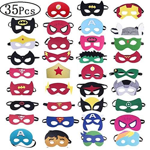 Hossom Superhelden Masken, Kindermasken, Filz Masken, Super Masken für Erwachsene und Kinder Cosplay Party (35 Stücke)