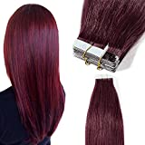 40 Pcs Extension Adhesive Cheveux Naturel Bande Adhesive Extension - Remy Human Hair Tape In Hair Extensions (#99J VIN ROUGE, 40CM - 100g)
