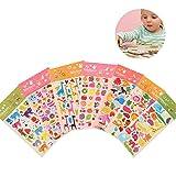Yuccer 3D Puffy Adesivi per Bambini Cute DIY Decorazioni Animali Stickers Pubblicato in Libri, Confezioni Regalo e iphone, 8 fogli
