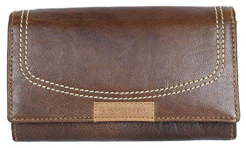 Damen Braunes Leder Portemonnaie - Geldbörse Lozano Ganzes aus Echtem Leder