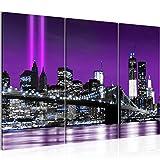 Bilder New York City Wandbild 120 x 80 cm - 3 Teilig Vlies - Leinwand Bild XXL Format Wandbilder Wohnzimmer Wohnung Deko Kunstdrucke Violett -100% MADE IN GERMANY - Fertig zum Aufhängen 007031a
