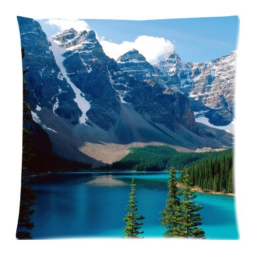 Landscape Snow Mountain Lake blue green water trees Wallpaper Zippered Pillow Cases Cover Cushion Case 18x18 - Wallpaper Mountain Blue