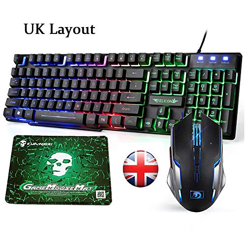 Tastatur-Maus-Kombi UK Setzt Regenbogen-LED-Hintergrundbeleuchtung USB Ergonomische Multimedia-Gaming-Tastatur Maus Combo + Verkabelt Optisch 2400 DPI 6 Tasten Hintergrundbeleuchtung Atmen Sie Gaming- -
