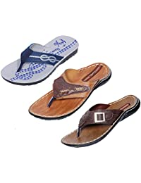 IndiWeaves Men Flip Flop House Slipper And Sandal-Brown/Brown/Grey/Black- Pack Of 3 Pairs