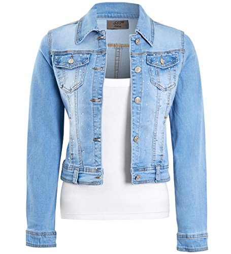 SS7 Womens Fitted Stonewash Denim Jacket, Size 6 to 14