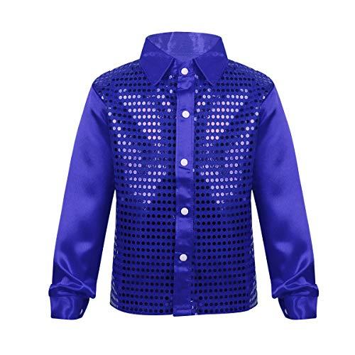 Disco Mädchen Tanz Kostüm - CHICTRY Kinder Jungen Paillettenhemd Langarm Shirt Hemd Karneval-Klamotten Disco-Hemd Kostüm Jazz Performance Party Glänzende Kleidung Blau 128-140/8-10Jahre