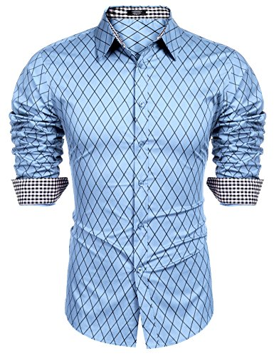 BURLADY Herren Hemd Slim Fit Diamant-Gitter Karohemd Kariert Langarmhemd Freizeit Business Party Shirt für Männer -
