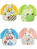 Ukia 4 pcs Babero con Mangas EVA Impermeable Unisex Babero de Manga Larga para Bebés 6 meses-3 años Niños pequeños (diseño de coche, abeja, búho,Jirafa,Birdie)