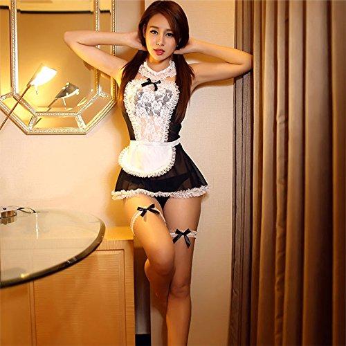 YQZXKL Bodystocking Maid Uniform Kostüme Rollenspiel Frauen Stimmung Dessous Hot Mood Unterwäsche Schöne Weibliche White Lace Erotic Kostüm,Luxus Schwarz,One Size
