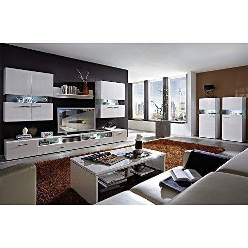 Wohnzimmer Set HATTAN258 weiß Hochglanz