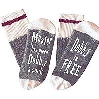 Delaman Calcetines de Tobillo Master Dado a Dobby Calcetín Dobby Gratis Novedad Divertida Crazy Crew Calcetines e Algodón, Calcetines Letras para Mujeres/Hombres, Regalos Navidad