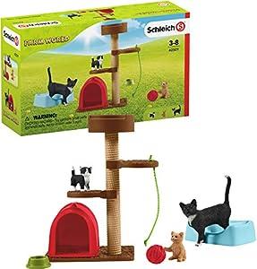 Schleich - Juego para Gatos Bonitos con múltiples Funciones y Accesorios, Colección Farm World
