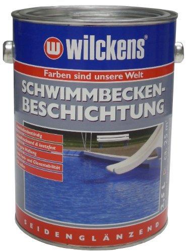 Wilckens 2,5 Liter Schwimmbecken Beschichtung Farbe, poolblau, Betonbodenversiegelung Pool Farbe blau inkl. 4er Pinselset und Nitrilhandschuhe (Poolblau 2,5 Liter)