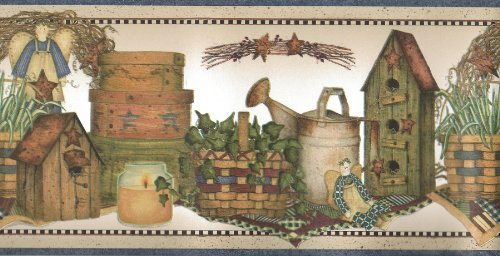 Wallpaper Border Country Angels Ivy Baskets Birdhouses Watering Cans Blue Trim by The Wallpaper and Border Store