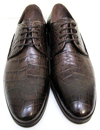 Muga Hommes chaussures à lacets crocodile regard-4229- Marron