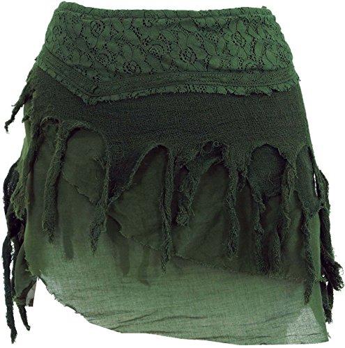 GURU-SHOP, Mini Falda de Psytrance Goa, Falda Hippie, Falda Wrap, Falda Tip, Cacheur, Verde, Algodón, Tamaño:S/M (38), Caché y Aduladores de Cadera