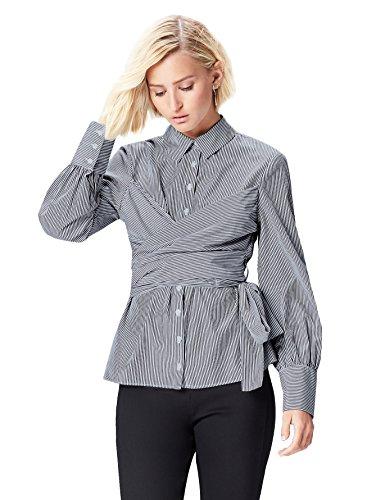 FIND Damen Gestreiftes Hemd mit Wickeldetail Blau (Blue Stripe), 42 (Herstellergröße: X-Large) (Jahre Bluse 80er)