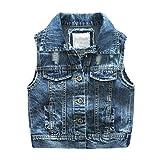 Yiiquan Bambini Veste Denim Estate Casuale Gilet Jeans Strappati Blu 100cm