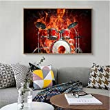 gaowei Fire Skeleton Music Poster Musical Fantasy Art Painting Immagini Abstract Minimalist Instruments Decorazione da Parete Maison 60x80cm Cornice