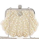 LONGBLE Elegant Hochzeit Clutch mit Perlen und Kristall Strassstein, Kleine Damen Handtasche Abendtasche Brauttasche Kettentasche Umhängetaschen Schultertaschen für Party Theater Tasche Geschenk, weiß