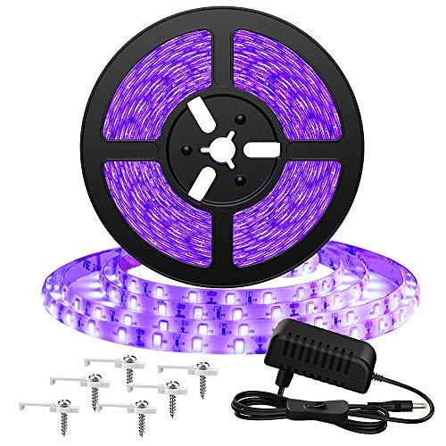 Onforu 5M Luz UV Tiras Cadenas LED Ultravioleta 300 LEDs 12V 2835 Luz Negra, Adaptador Incluido, Iluminación...