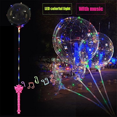 LED Bubble Balloons  Bulary 21inch 5PCS Transparent LED Light Up Balloons  Luminous Led Glowing Balloon for Birthday Wedding Christmas Party Decoration-With Music