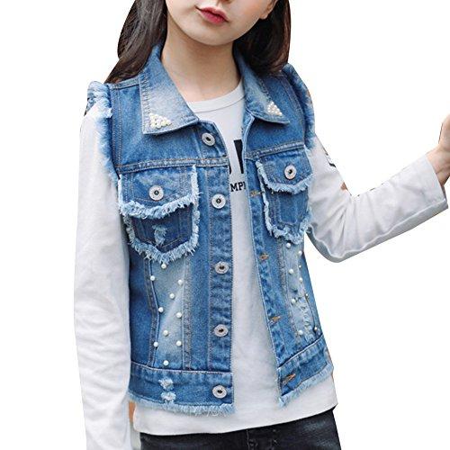 Veste En Jean Sans Manches Fille Jeans Blousons Jacket Casual Manteau Veste Bleu 140CM