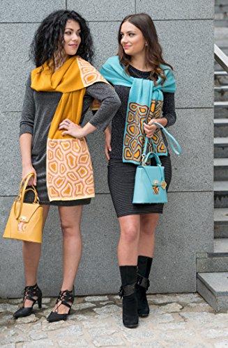 TATI Boduch borsa del progettista per le donne, mini collezione AGATE (Giallo Blu) Blu