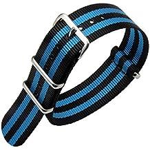 24mm negro luz azul de lujo de nylon duradero de la NATO reloj estilo correas bandas militares / reemplazos para los hombres