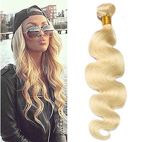 Ugeat 22 Zoll Brasilianisch Tressen Echthaar Extensions Naturlich #613 Gebleichtes Blond 100g/pack Body Wave Haar Extensions Tressen Echthaar Weaving