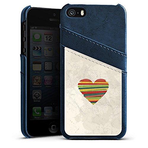 Apple iPhone 5 Housse étui coque protection Amour Amour C½ur Étui en cuir bleu marine