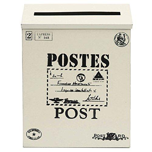 Bluelover Antik Vintage Eisen Blatt Postfach Garten Wand-Blechdose Zeitung Post-Briefkasten - Cremige Weiße
