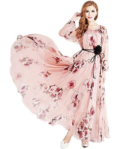 Medeshe Damen Neckholder Kleid Mehrfarbig Mehrfarbig 48 Nach 48 Gr. 44 Nach 48, Länge: 130 cm, Pink Rose Long Sleeve - Long Sleeve Damen Kleid