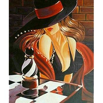 Tableau Moderne Femme Parapluie Noir, Dimensions 60/90 Cm