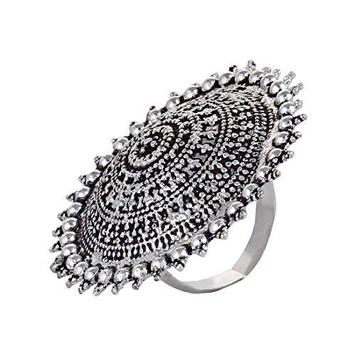 Saissa India Oxidised Big Ring for Girls and Women