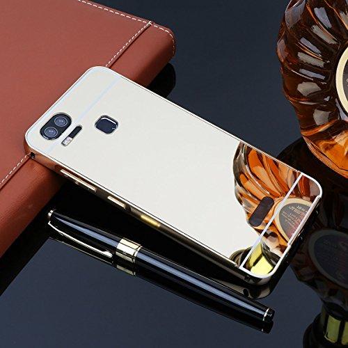 Spiegel Hülle Mirror Case TPU Schutzhülle Silikon Handyhülle Tasche Case Cover für ZenFone 3 Zoom (ZE553KL), Silber Gold