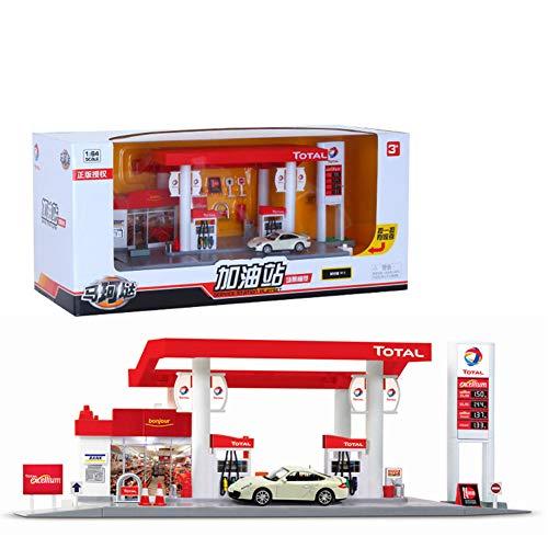 ETbotu Scale Sound + Lumière Service Station Magasin Route Voiture Jouant Maison Jouet Ensemble French Total Gas Station Combination - Car random 1