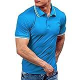 UJUNAOR Mode Persönlichkeit Männer Beiläufig Slim Fit Kurzarm-T-Shirt Top Bluse(2XL,Blau)