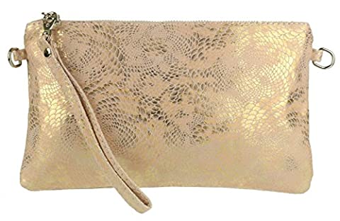 Girly HandBags New Italian Suede Snake Holographic Purse Clutch Bag -- Light Pink