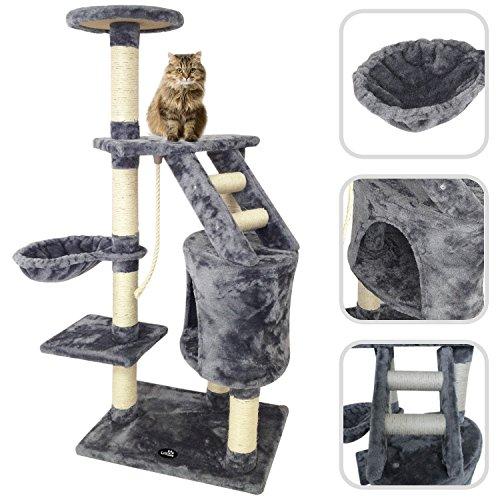 Albero per Gatto con Graffiatoio Cuccia Giocattolo Gatti Parco Giochi Tiragraffi in Sisal Naturale 120 x 55 x 40 Cm (Colore Grigio Figaro 30058)