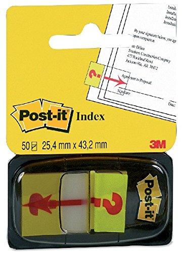 Post-it Index amarillo con símbolo INTERROGACIÓN. Dispensador std 1x50