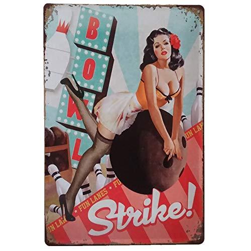 PEI 's Retro Vintage Sexy Girls Blechschild, Wanddekoration für Zuhause, Garage Likör, Bar Man Cave Gasstation, 20 x 30 cm Bowling